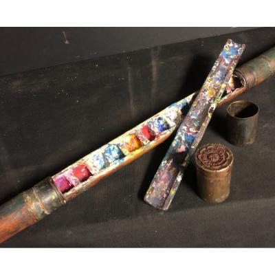 China Late 19th Century Rare Cane With Watercolor Painter System Bamboo Shaft