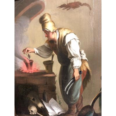 XIXth Oil Cabinet Of Curiosities Potion Of Sorcerer With Scorpion Curiosity Memento Mori Skull