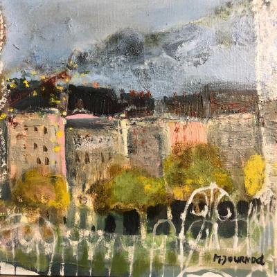 Monique JOURNOD 1935- Huile sur toile Paysage à la fenêtre ouverte Style de Bardone