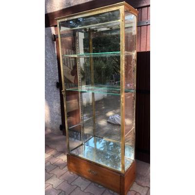 RARE VITRINE éclairante d'exposition 1920 en laiton , verre , miroir magasin collectionneur TBE