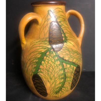 Emile Simonod Sispa Important Art Deco Earthenware Vase Savoie Chambery
