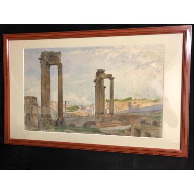 Gustave Adolphe MOSSA grande aquarelle Forum Romain symboliste