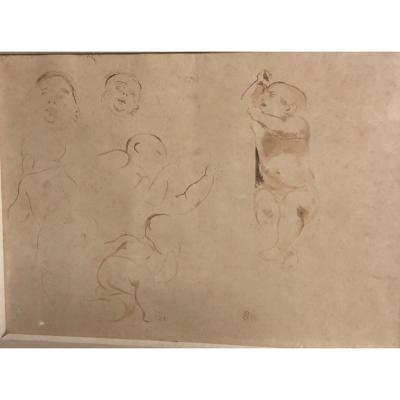 Eugène DELACROIX 1798-1863 Etude de petit enfant allongé Plume encre , lavis Cachet Collection