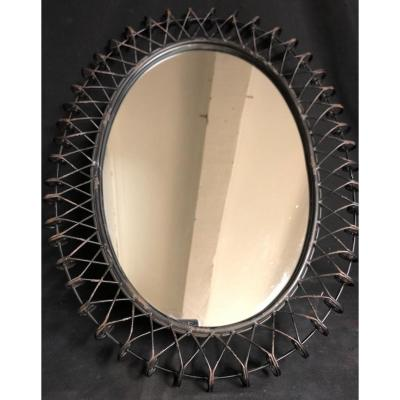 Grand MIROIR ovale en tressage de métal noir 64,5 x 51 cm