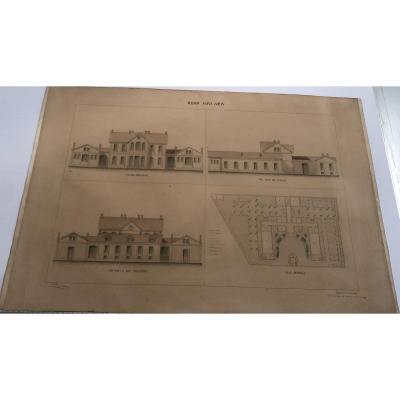 Grand dessin aquarellé d' architecture XIXe MAISON SAINT LOUIS à COMMENTRY par Regnaud 1/2