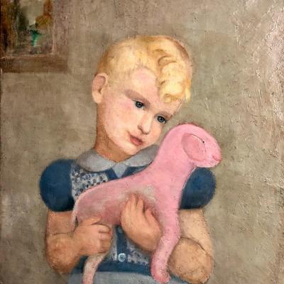 CURIEUSE huile sur toile signée ENFANT BLOND ET PELUCHE ROSE C.B.C. 49 Exposition