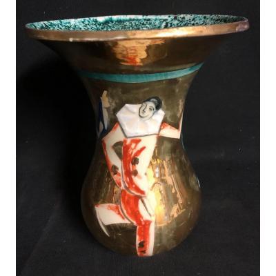 Art Deco Vase With 3 Stones Signed G. Vinin For The Marquise De Sévigné Pierrot