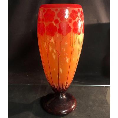 Le Verre Français Grand vase modèle Cardamines 1925 Art Deco Schneider