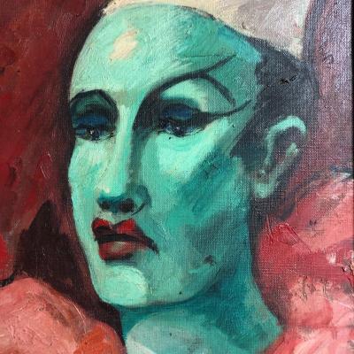 Fernand ANDREY-PREVOST 1890-1961 Huile LE CLOWN 1952 Andrey Prevost cirque