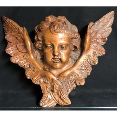 GRAND ANGE XVIIIe en bois sculpté Putti EN TRES BON ETAT