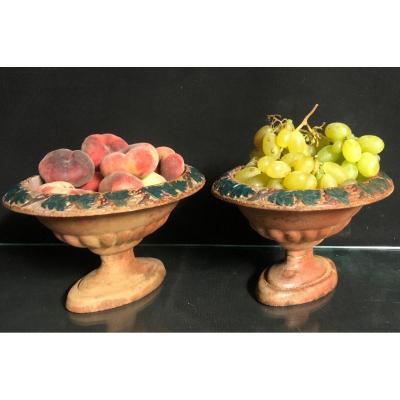 Paire de petites et charmantes vasques XIXe en fonte Vases jardinières