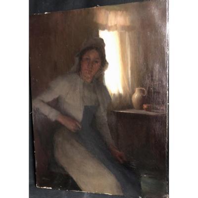 Leon DELACHAUX 1850-1919 Huile sur toile  Clair obscur Artiste Suisse Français et Américain