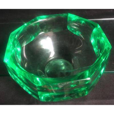 VASE DAUM Art Deco en cristal VERT géométrique 1930 signé