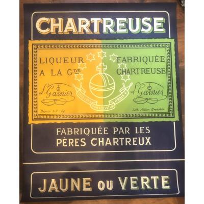 Rare Chartreuse Lithographic Poster Yellow Or Green Liqueur New Condition Voiron Grenoble