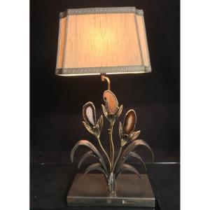Willy DARO XXe attribué LAMPE DE TABLE en laiton et agate