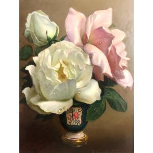 Irène KLESTOVA 1908-1989 Russe FLEURS ET PERLES DE ROSÉE dans un vase Huile Roses