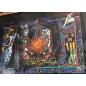 Shahla MOAZZEZI XXe Artiste Iranienne Grand pastel PERSE Poesie et tradition Persane
