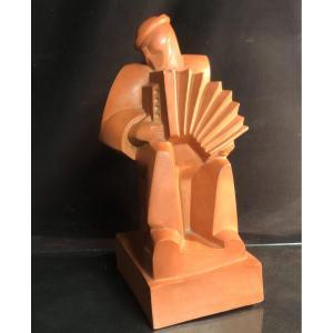 Jan et Joel MARTEL ACCORDEONISTE  Rare sculpture en terre cuite 1925 signée Art Deco