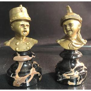 PAIRE de bronzes XIXe JEAN QUI PLEURE ET JEAN QUI RIT d'après HOUDON XVIIIe Pompier militaire
