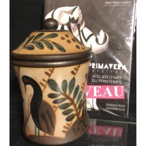 PRIMAVERA Gustave ASCH Pot couvert boîte en céramique vernissée signée canard champignon