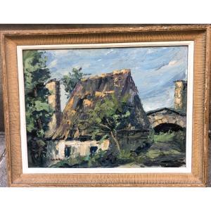 Achille RICHARD 1895-1962 attribué Grande huile PAYSAGE À LA MAISON signé