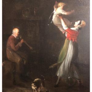 Jeanne DABOS 1763-1842 Huile sur bois Jeune mère , enfant et musicien Scène de genre intimiste