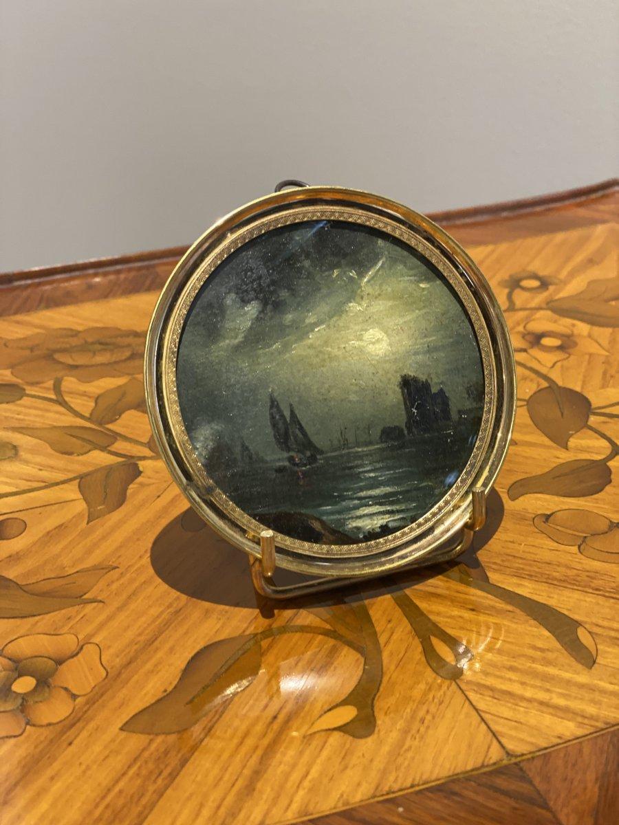 Miniature Début XIXeme «bateau Naviguant Sous La Pleine Lune»-photo-2