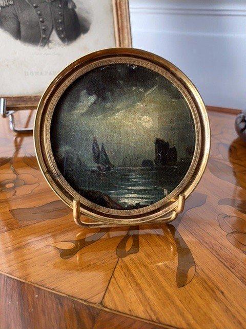 Miniature Début XIXeme «bateau Naviguant Sous La Pleine Lune»