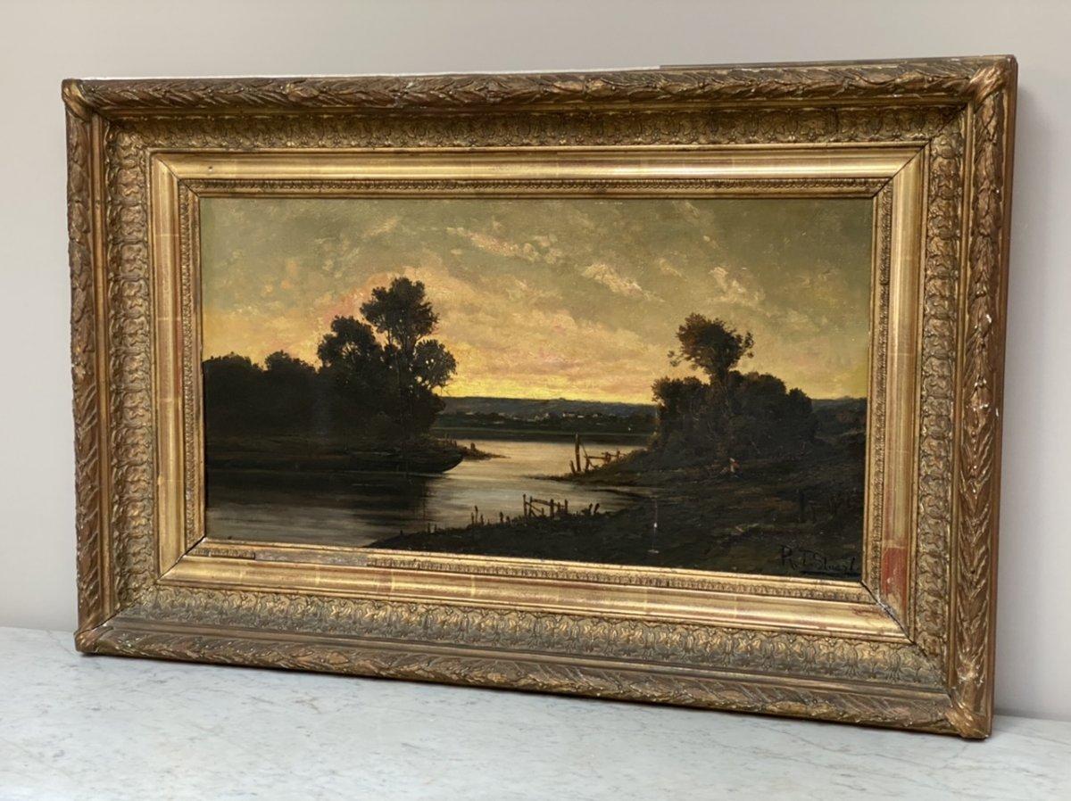 R.t Stuart , L'étang Au Coucher Du Soleil, Huile Sur Toile , XIXème