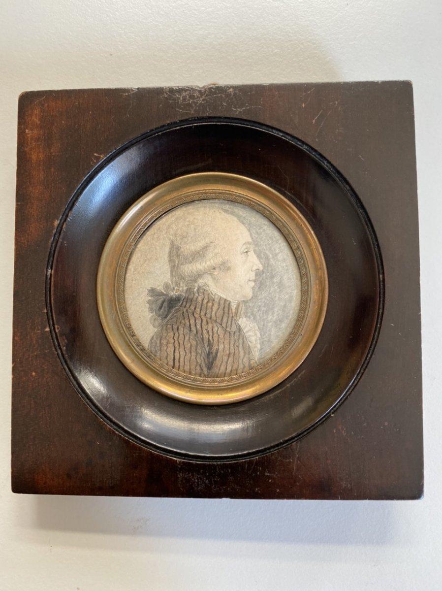 Miniature En Médaillon , Dessin Représentant Un Révolutionnaire  XVIIIeme
