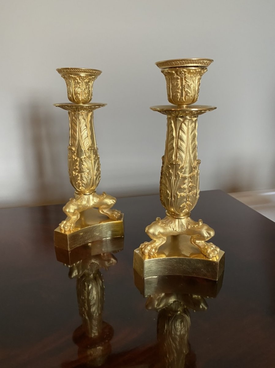 Pair Of Empire / Restoration Period Chiseled And Gilded Bronze Candlesticks