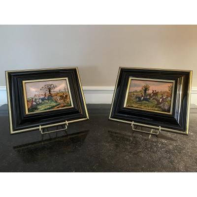 Pair Of Enamel Paintings On Hunting Subject