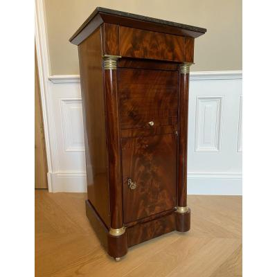 Somno, Mahogany Bedside Table With Half Columns From The Empire Period