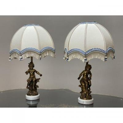 Pair Of Lamps Signed Lf.moreau