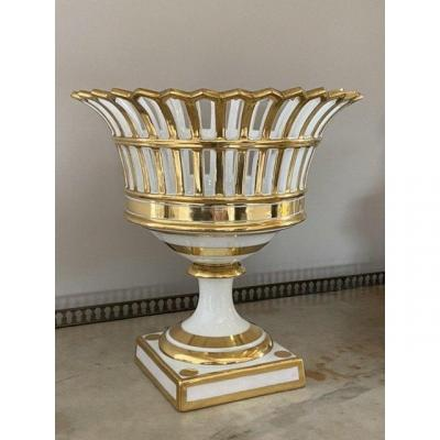 Paire De Coupe En Porcelaine De Paris D'époque Empire Restauration
