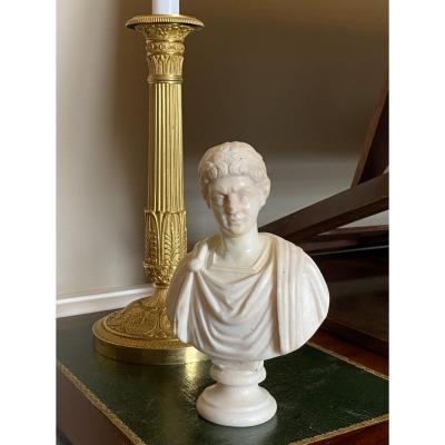 Buste D'un Empereur Romain En Marbre Blanc XVIIIème siècle
