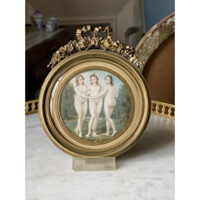Miniature On Ivory From The Beginning Of The XIXth Representing The Three Graces.