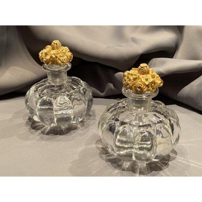 Paire De Flacons à Parfum En Cristal De Baccarat / Le Creusot  d'époque Restauration