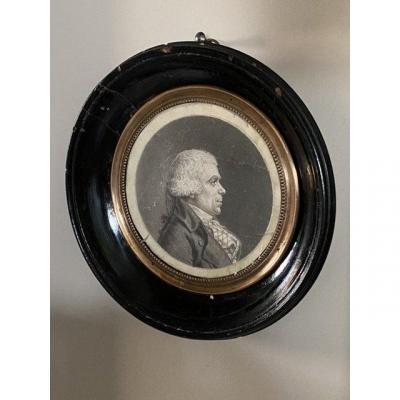 Physionotrace : Portrait D'homme En Médaillon Du XVIIIeme Siècle