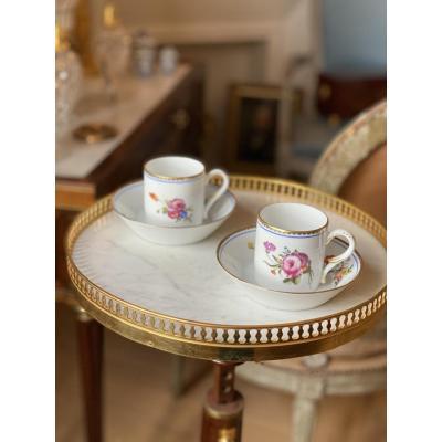 Paire De Tasses Litron «décor à La Reine»