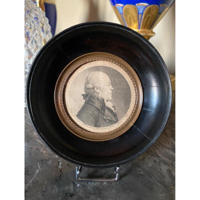 Physionotrace : Portrait D'homme En Médaillon Du XVIIIème Siècle