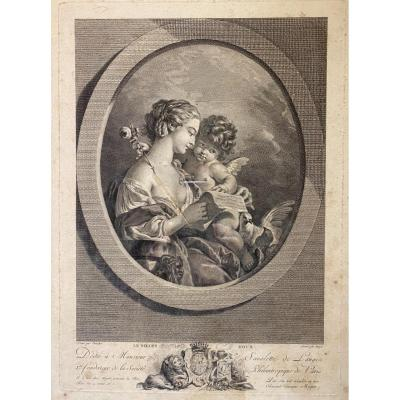 Gravure «le Billet Doux» , D'après F.boucher Gravée Par Miger XVIIIeme
