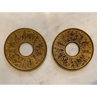Paire De Coupelles/ Bobèches En Bronze Doré Au Mercure D'époque Empire - Restauration