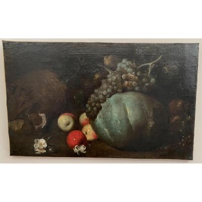 Très Belle Nature Morte Attribuée à Giovanni Castelli Dit «lo Spadino» Fin Du  XVIIeme