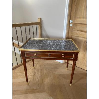 Belle Poudreuse Ou Table De Toilette D'homme En Acajou D'époque Louis XVI