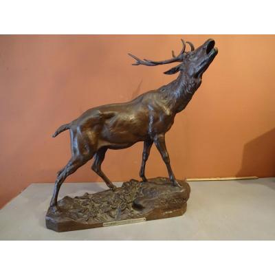 Bronze Brame Du Cerf Par Charles Valton