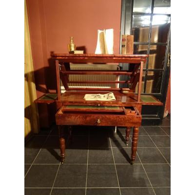 Table A La Tronchin d'Epoque Louis Philippe Avec Petit Livret Ancien Table Feret