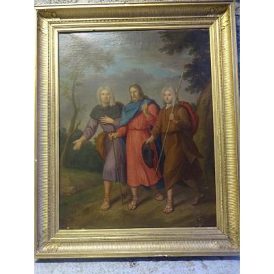 Etonnant Tableau 18 Eme Siecle Representant Le Christ Entoure des pelerins d'Emmaus