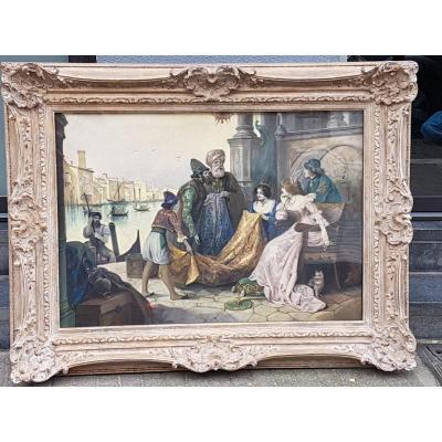Pastel Venise Scene De Marchands
