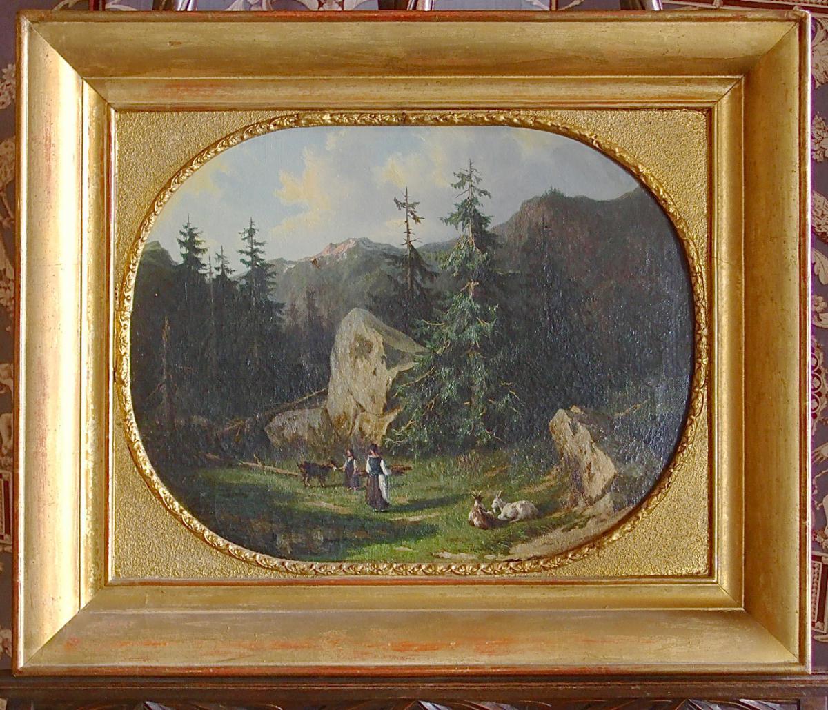 Alpine Scene By A. De Bar